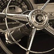 1953 Pontiac Steering Wheel - Sepia Art Print