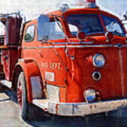 1954 American Lafrance Classic Fire Engine Truck Art Print by Kathy Clark