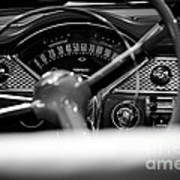 1955 Chevy Bel Air Dashboard In Black And White Art Print by Sebastian Musial