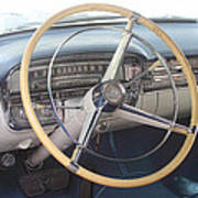 1956 Cadillac Steering Wheel And Dash Art Print