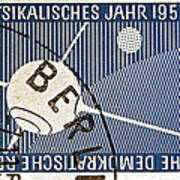 1957 - 1958 East German Sputnik Stamp Art Print