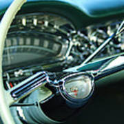 1958 Oldsmobile 98 Steering Wheel Art Print