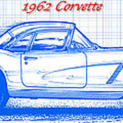 1962 corvette blueprint art print by k scott teeters 1962 corvette blueprint poster malvernweather Images