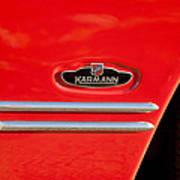 1970 Volkswagen Vw Karmann Ghia Emblem Art Print