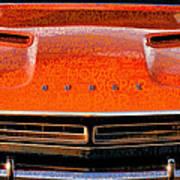 1971 Dodge Challenger - Orange Mopar Typography - Mp002 Art Print