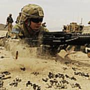 A Soldier Firing His Mk-48 Machine Gun Art Print