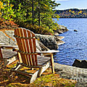 Adirondack Chairs At Lake Shore Art Print