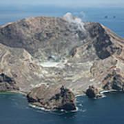 Aerial View Of White Island Volcano Art Print
