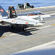An Fa-18e Super Hornet Lands Aboard Art Print