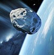 Asteroid Approaching Earth, Artwork Print by Detlev Van Ravenswaay