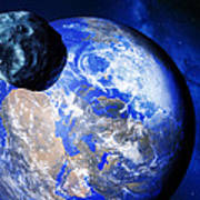 Asteroid Approaching Earth Art Print