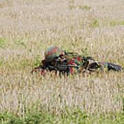 Belgian Paratroopers On Guard Print by Luc De Jaeger