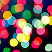 Blurred Christmas Lights Art Print by Elena Elisseeva
