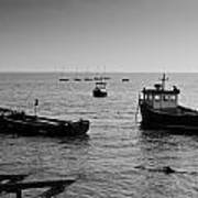 Boats Moored Off Of Leigh Essex Art Print