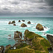 Cliffs Under Thunder Clouds And Turquoise Ocean Art Print