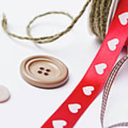 Close Up Of Ribbon, String And Buttons Art Print
