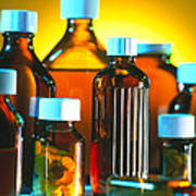 Collection Of Medicine Bottles With Safety Caps Art Print by Tek Image