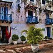 Colonial Buildings In Old Cartagena Colombia Art Print by David Smith