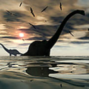 Diplodocus Dinosaurs Bathe In A Large Art Print