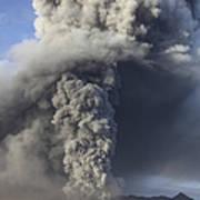 Eruption Of Ash Cloud From Mount Bromo Art Print