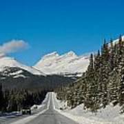 Highway In Winter Through Mountains Art Print