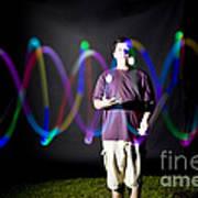 Juggling Light-up Balls Art Print