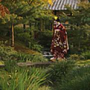Kimono-clad Geisha In A Park Print by Justin Guariglia