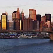 Lower Manhattan Skyline And Brooklyn Bridge At Dawn Art Print by Jeremy Woodhouse