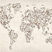 Map Of The World Map Floral Swirls Art Print