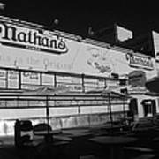 Nathan's Famous In Black And White Art Print