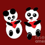 2 Pandas In Love Art Print