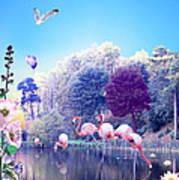 pink Flamingoes Art Print