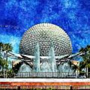Spaceship Earth And Fountain Of Nations Art Print