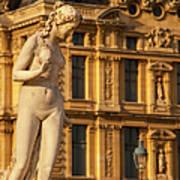 Statue Below Musee Du Louvre Art Print