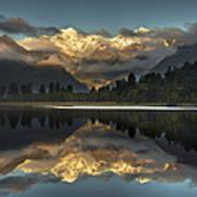 Sunset Reflection Of Lake Matheson Art Print