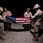 U.s. Marines Fold The American Flag Art Print