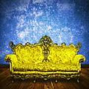 Victorian Sofa In Retro Room Art Print