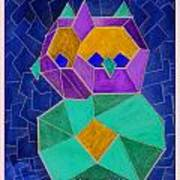 2010 Cubist Owl Negative Art Print by Lilibeth Andre