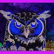 2011 Dreamy Horned Owl Negative Art Print by Lilibeth Andre