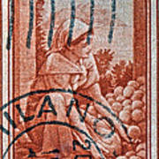 25 Lire Italian Stamp - Milano Cancelled Art Print