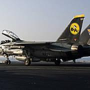 An F-14d Tomcat On The Flight Deck Art Print