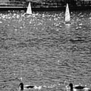 2boats2ducks In Black And White Art Print