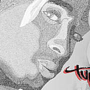 2pac Text Picture Art Print