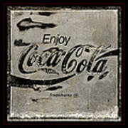 Coca Cola Sign Grungy Retro Style Art Print
