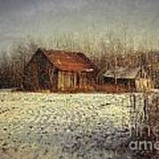 Abandoned Barn With Snow Falling Art Print by Sandra Cunningham