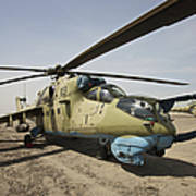 An Mi-35 Attack Helicopter At Kunduz Art Print