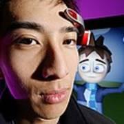 Brainwave-reading Headset Art Print by Volker Steger