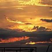 Destroyed  Pier Sea Sunset Art Print