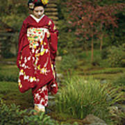 Kimono-clad Geisha In A Park Art Print