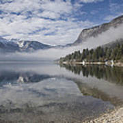 mist burning off Lake Bohinj Art Print